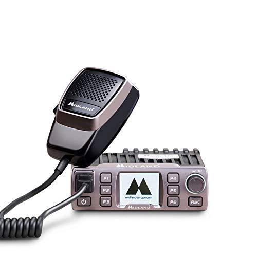 Midland M-30 CB-Funkgerät mit Mikrofon, 12/24V, Farbdisplay, 6 programmierbare Tasten, Digital Squelch, 4 Watt AM/FM