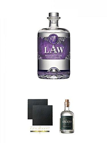 LAW Gin Ibiza 0,7 Liter + Schiefer Glasuntersetzer eckig ca. 9,5 cm Ø 2 Stück + Amato Gin Deutschland 0,5 Liter