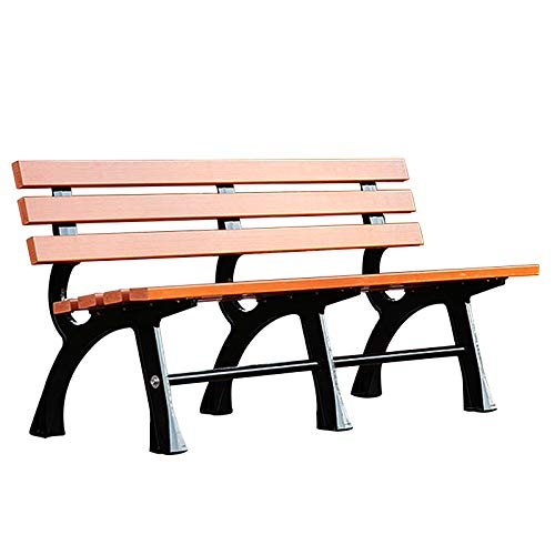 Outdoor garden bench terrace benches, Weatherproof and anticorrosive solid wood slat gap bench, Reinforced metal bench for adults and children with 2-3 seats, Easy to assemble