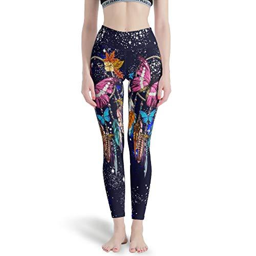 DAMKELLY Store Polainas deportivas con diseño de atrapasueños y mariposas, cintura alta, pantalones deportivos para gimnasio, blanco, talla 2XL