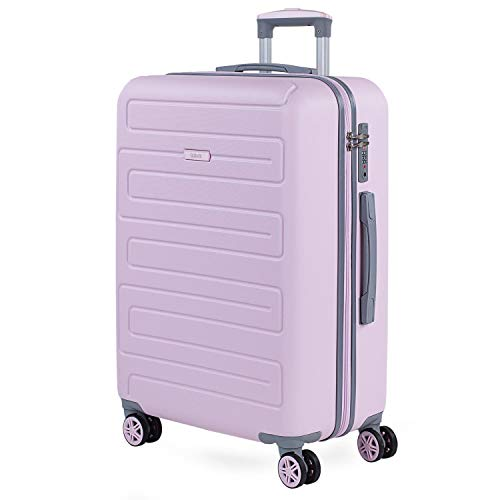 SKPAT - Maleta de Viaje Mediana 4 Ruedas Trolley. 67 cm Rígida ABS. Dura Práctica Cómoda Ligera y Bonito. Diseño y Calidad. Candado TSA. Interior Muy Completo. Estudiante. 175060, Color Rosa