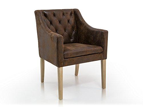 moebel-eins Carlos Polstersessel Sessel Esszimmerstuhl Esstischstuhl Stuhl Polsterstuhl Eichefarbig/Microfaser Vintage