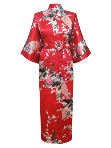 Swhiteme Women's Kimono Robe, Peacock, Long, Red