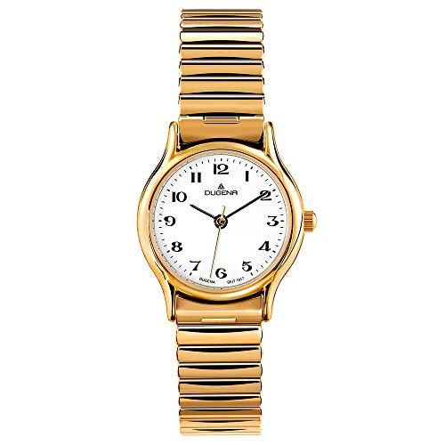 DUGENA Damen-Armbanduhr 4460535 Vintage Comfort, Quarz, weißes Zifferblatt, Edelstahlgehäuse, Mineralglas, Edelstahl-Zugband, 3 bar