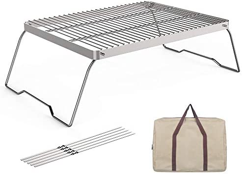 SENXILLER Folding Campfire Grill 304 Stainless Steel Environmentally Friendly Camping Barbecue product image