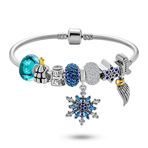 Elegant Blue Ice Frozen Snowflake White Winter Wonderland Christmas Crystal European Bead Charm Bangle Bracelet For Women Teens 925 Sterling Silver Snap Barrel Clasp