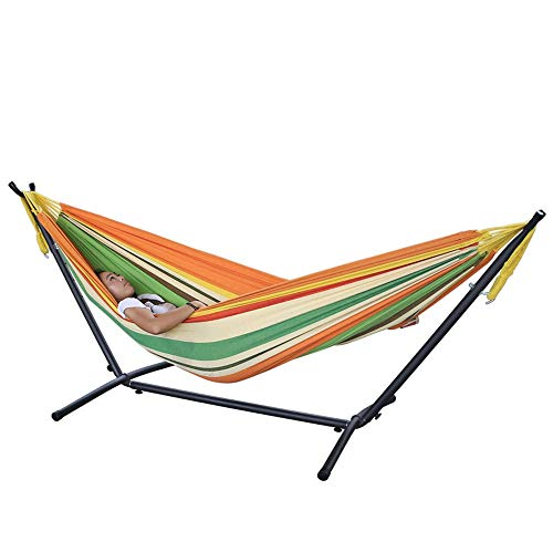 YXWJ Hamac Support amovible Assemblée Fer portable étagère extérieur Balcon intérieur Swing Swing Support suspendu 200x150cm Chaise support (Color : Ré, Taille : With stand)