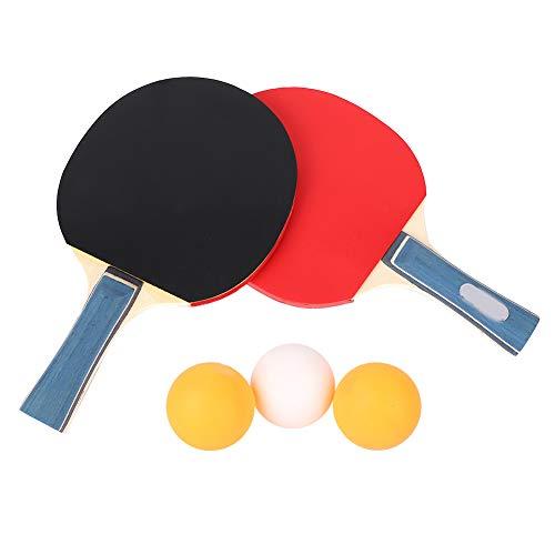 Haokaini Juego de Raquetas de Tenis de Mesa 2 Piezas de Paleta de Ping Pong de Goma con 3 Bolas Madera de Carbono de 7 Capas Raqueta de Ping-Pong Profesional para Jugadores Principiantes Y Avanzados