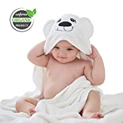 Baby Hooded Towel, Caforee Organic Bamboo Baby Towel Extra Soft Double-Faced Plush Natural High Water Absorption with Lovely Bear Ears for Infants Toddlers Boys and Girls, Baby Bath Towels