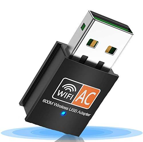 WiFi Dongle, Adaptador USB WiFi 600Mbps 2.4/5 GHz Mini Adaptador , USB WiFi Antena LAN Adaptador 802.11ac/a/b/g/n para computadora portátil Windows 10/8/8.1/ 7