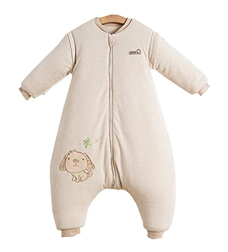 Chilsuessy Baby Winter Schlafsack Langarm 3.5 Tog Bio Baumwolle Kinder Schlafsack Schlafanzug mit abnehmbar Langarm, Beige, L/Koerpergroesse 95-110cm