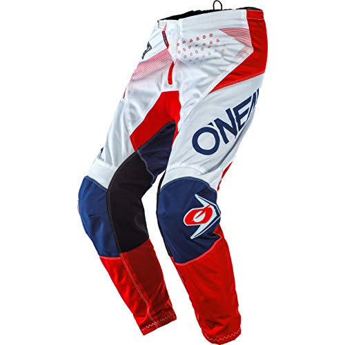 O'NEAL | Motocross-Hose | MTB Enduro MX | Bequeme lockere Passform für maximale Bewegungsfreiheit, Bündchenlose Hosenbeine | Element Pants Factor | Erwachsene | Weiß Blau Rot | Größe 38/54
