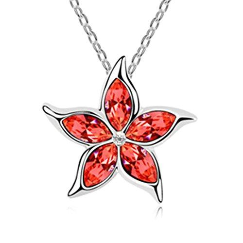 Daesar Schmuck Damenkette Vergoldet Blume Synthetische Kristall Halskette Zirkonia Halskette Anhänger