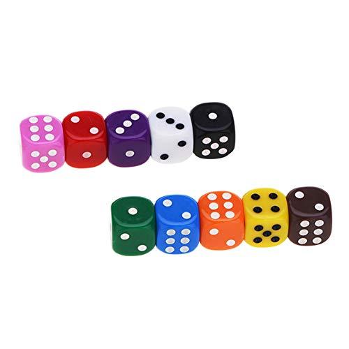 Rpanle 10 Piezas Dados (6 Caras, 16mm), Coloridos Dados para Juegos de Dados, Tenzi, Farkle, Yahtzee, Bunco o Ense?anza de Matemática, Casino, Regalos, Party Favor - 10 Colores