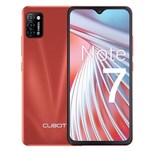 CUBOT Note 7 Teléfono móvil, smartphone sin contrato, 4G Android 10 Go, pantalla HD de 5,5 pulgadas, cámara triple de 13 MP, batería de 3100 mAh, 2 GB/16 GB, 128 GB ampliable, Dual SIM (rojo)