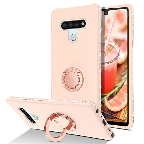 BENTOBEN Compatible with LG Stylo 6 Case, Phone Case LG Stylo 6, Slim Silicone 360° Ring Holder Kickstand | Soft Rubber Hybrid Hard Protection Bumper Cute Girls Women LG Stylo 6 Cover, Light Pink