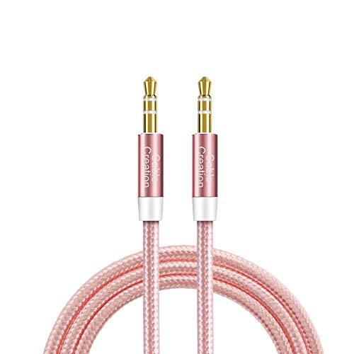 3.5mm Aux Kabel, CableCreation 3,5mm Stereo Audiokabel (Stecker auf Stecker), Klinkenkabel Kompatibel mit iPhone,Auto, Kopfhörern, Tablets, Priva III usw. 0.9M/3FT, Rosegold