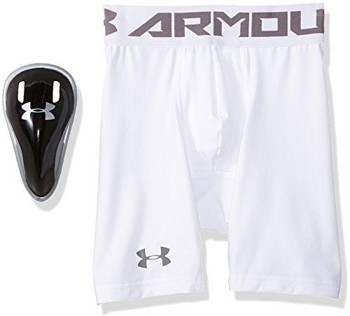 Under Armour Men's HeatGear Armour Compression Shorts w/ Cup, White (100)/Graphite, Large