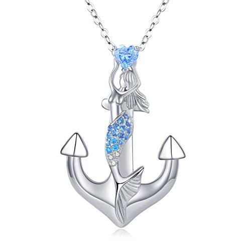 Anker Halskette Damen 925 Sterling Silber Halskette Damen mit Anker Anhänger Maritim Meerjungfrau Siren Anhänger Ankerkette Anker Nautisch Anhänger Kette Pirat der Karibik Segeln Halskette für Frau