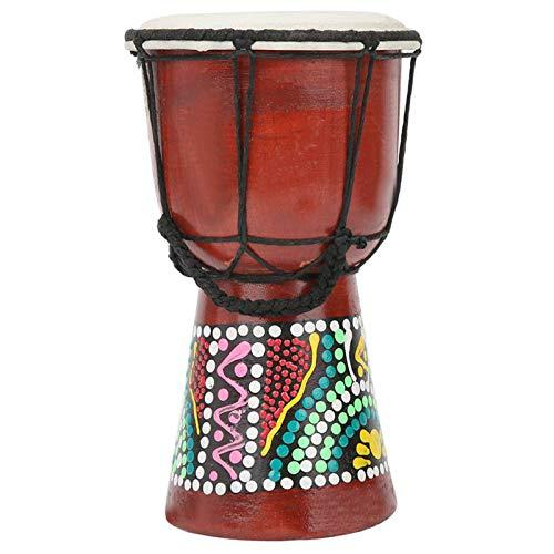 Tambor djembe, tambor africano de mano, portátil de madera pintado a mano...