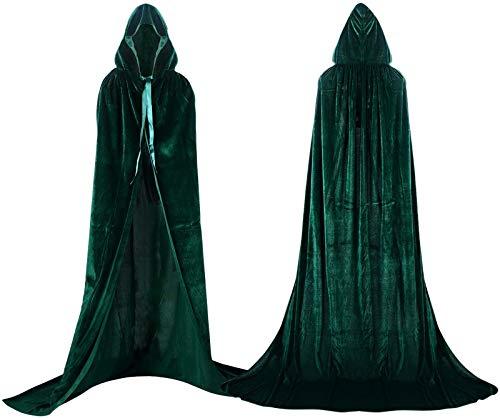 Capa unisex con capucha para nios y adultos, disfraz de Halloween para cosplay de Grim Reaper Vampire Wizard Cape Party Performance Fancy Dress Prendas (verde, M)