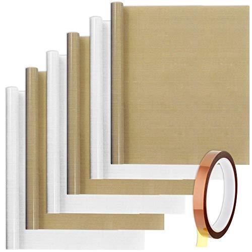SENHAI 6 hojas de teflón PTFE con 1 cinta de calor para papel de transferencia de prensa de calor, antiadherentes, resistentes al calor, para hornear (30 x 39 cm), color marrón, blanco