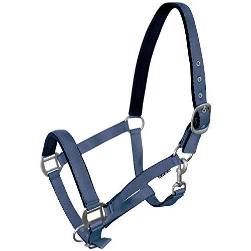 York Pferde Halfter Fluo weich unterlegt Stallhalfter Weidehalfter Reithalfter (Full, Jeansblau)