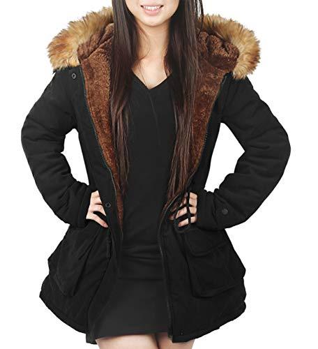 4HOW Womens Parka Jacket Hooded Long Winter Coat Lined Faux Fur Parkas Coat Outdoor Black Size 14