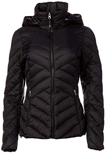 Nautica Damen Short Hooded Packable with Chevron Quilting Übergangsjacke, schwarz, X-Groß
