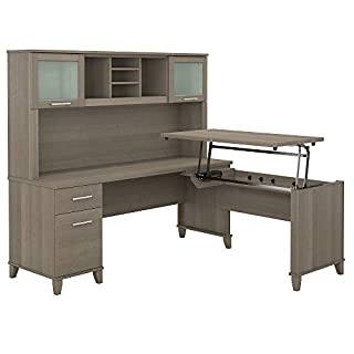 Bush Furniture Somerset 3 Position Sit to Stand L Shaped Desk with Hutch, 72W, Ash Gray (B07NY5R1JK) | Amazon price tracker / tracking, Amazon price history charts, Amazon price watches, Amazon price drop alerts
