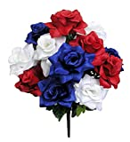 Admired By Nature GPB293-RD/WT/BL Artificial Full Blooming Flowers, Medium, 6. ABN_RD/WT/BL_Rose, 12 Count
