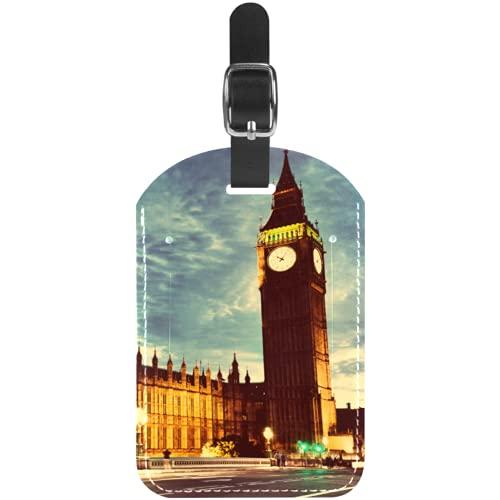 Reloj Big Ben de Londres Etiquetas para Equipaje niños Etiquetas Grandes de Cuero Etiquetas Iniciales Conjunto de Etiquetas para Maletas 7x11.4cm
