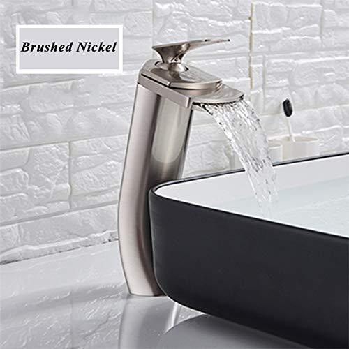 G0000D - Grifo cromado para lavabo de lavabo con grifo de baño frío y caliente de lavado de baño grifo de un solo mangola con un agujero elegante arco para fregadero de agua mezclador == Calidad superior y envío gratis