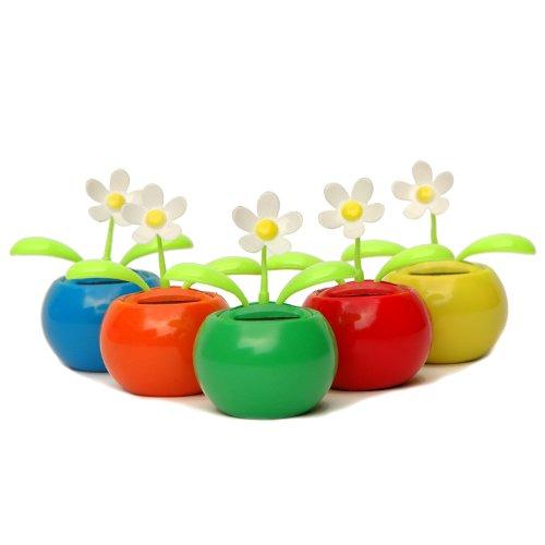 Solar-Wackelblume mit weißer Blüte, Solarblume in 5 tollen Farben mit weißem, wackelndem Köpfchen, Solarenergie Sonne - 5er Set