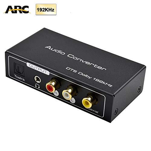 AMANKA HDMI Extractor de Audio 192KHz Convertidor DAC ARC Extractor de Audio Soportar HDMI Audio Digital a Audio Analógico RCA L/R, Toslink y 3,5 mm Jack ARC Adaptador de Audio para TV
