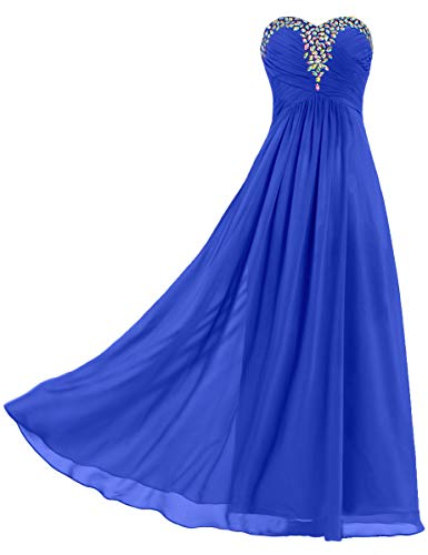 ANTS Women's Strapless Bead Chiffon Evening Gowns Long Prom Dresses Size 4 US Royal Blue