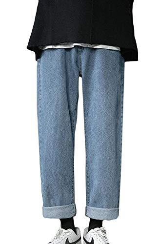 (BaLuoTe)メンズ デニムパンツ 春秋 サルエルパンツ ワイドパンツ ジーンズ パンツ メンズ カジュアル かっこいい サルエル パンツブルーT4