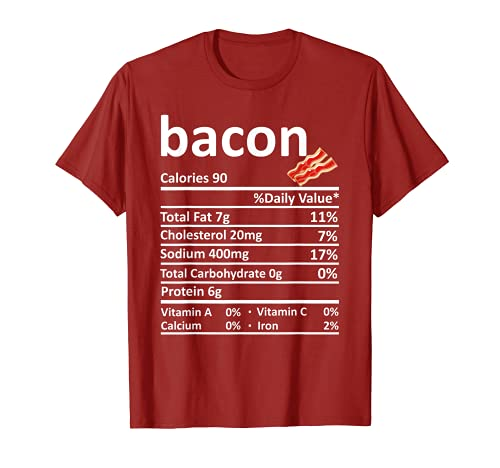 Bacon Nutricin Informacin Alimentaria Disfraz de Accin de Gracias Navidad Camiseta