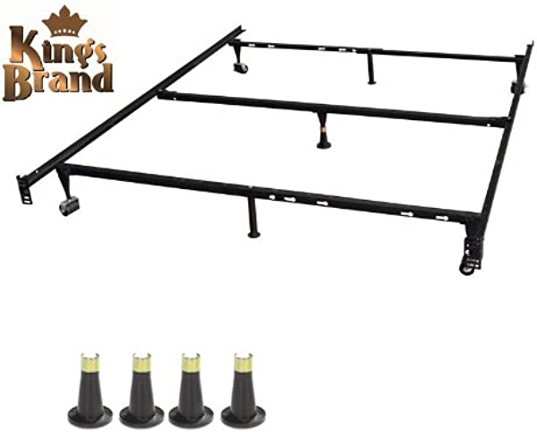 Kings Brand Furniture Heavy Duty 7 Leg Adjustable Metal Queen Full Full XL Twin Twin XL Bed Frame With Center Support Rug Rollers Locking Wheels 4 Glide Legs To Replace Wheels