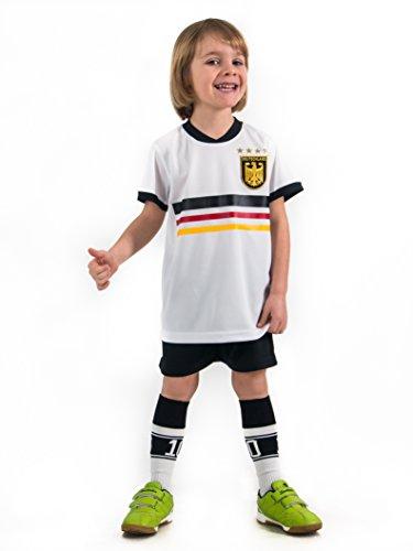 Unbekannt Fußball Trikotset Trikot Kinder 4 Sterne Deutschland Wunschname Nummer Geschenk Größe 98-170 T-Shirt Weltmeister 2014 Fanartikel EM WM (116)
