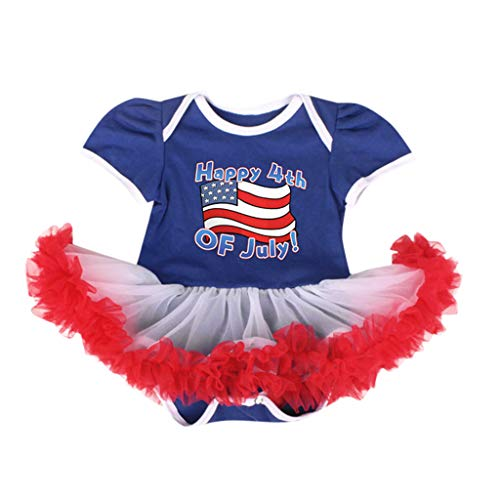 ❤ SSZZoo Infant Baby Girls Independence Day Outfits 4th of July National Flag Romper Tulle Tutu (Blue, 6-12 Months)