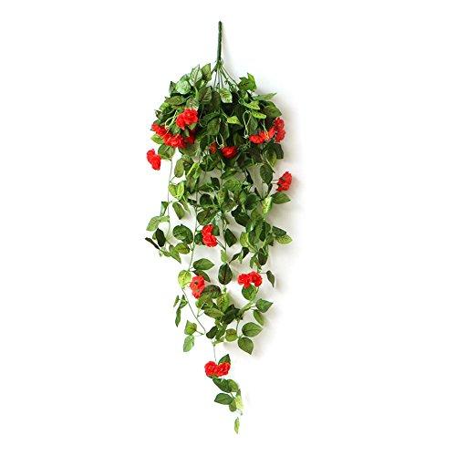 Bloempot hangend bloempot macramé met kunstroos bloemenlamp hoog simulatiedesign voor tuin kantoor thuis raam erf bruiloft buiten decoratie A