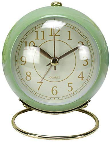 Mini Alarm Clock with nightlights, no Ticking Nights, Birthday/Graduation/Movement/New Year Classic Gift Quartz Clock,Green