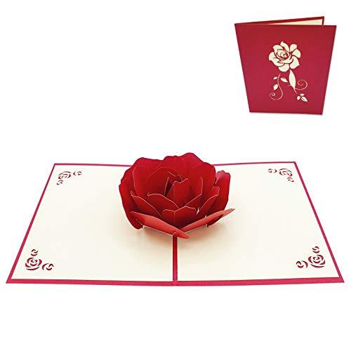 Typicshop Tarjeta de felicitación 3D de amor - Bonita Rosa Roja - Postal 3D de Amor para San Valentín, aniversario, pareja, novio, novia, padre, madre, hijo, hija