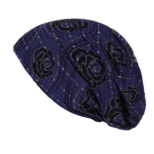 Alikeey Vrouwen Floral kant India, mosliman hoed, met ruches, kanker, hemo, muts, turban, wrap, sjaal, lang, halsdoek, parel, zacht, elegant, chique, vintage, licht en dun, glanzend, chiffon
