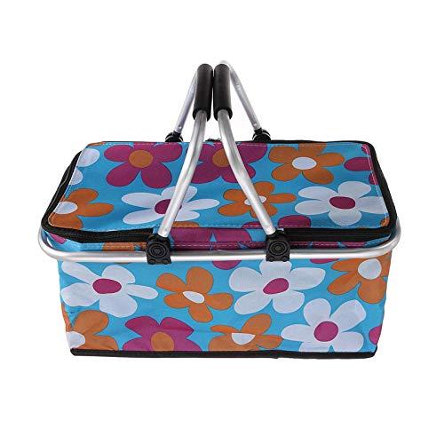 Cesta de picnic de 30 l, plegable, aislante, impermeable, bolsa de almuerzo, cesta de la compra, cesta de picnic (tamaño: 46 x 28 x 24 cm, color: azul)