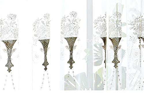 Cortinas Jacquard azules de gama alta personalizadas para Living om Bedom Estudio de costura alta PrecisiJacquard cortina Embidered Tulle-Tulle, 1pc W400cmXH260cm, tirón de cinta plisada