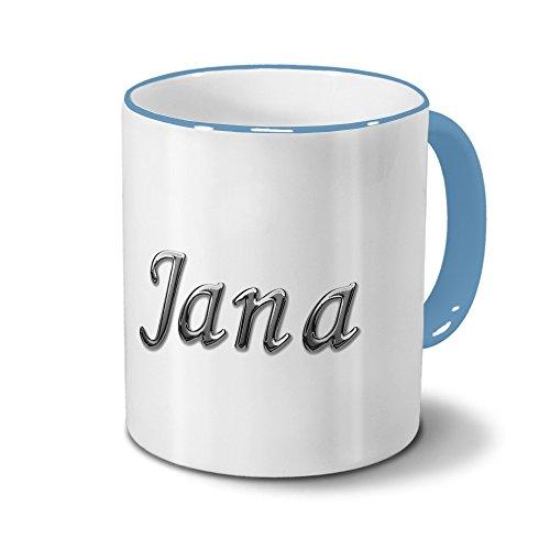 Tasse mit Namen Jana - Motiv Chrom-Schriftzug - Namenstasse, Kaffeebecher, Mug, Becher, Kaffeetasse - Farbe Hellblau