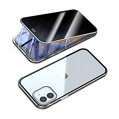 RANYOK Privacy Magnetic Adsorption Case Compatible with iPhone 12/12 Pro (6.1 inch), Double-Sided Tempered Glass with Built-in Screen Protector 360° Full Body Metal Frame Cover (Silver)