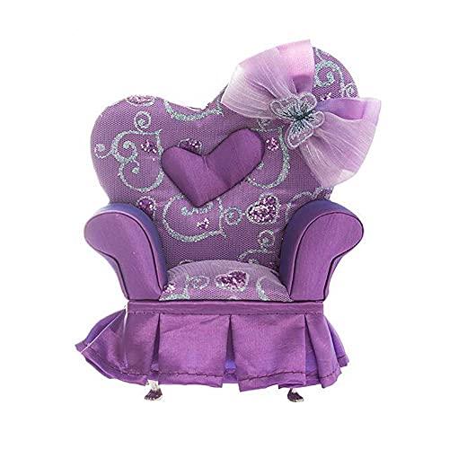 East Utopia Lila Bowknot Schmuck Aufbewahrungsbox Organizer Einzelsessel Stuhl Möbelform Mini Schmuckhalter